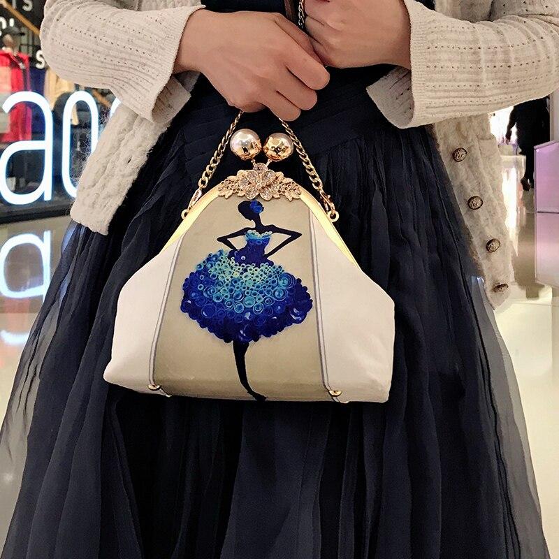 Professionnalisation BRICOLAGE À La Main Artisanat Matériel Paquet Pour Mode Femmes Messenger Sac (20x17x8 cm) En Métal-ouverture Cadre Sacs Cadeau
