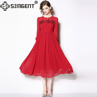 Simgent New 2019 Spring Womens Fashion Long Sleeve Embroidery Chiffon Sloid Pleated Dress Red Woman Clothing Vestidos SG812101
