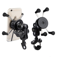 Universal Motorcycle Scooter Handle Mirror Rear View Mount Smartphone Grip Clamp Stand Holder Mount Bracket for iPhone Xs Max XR
