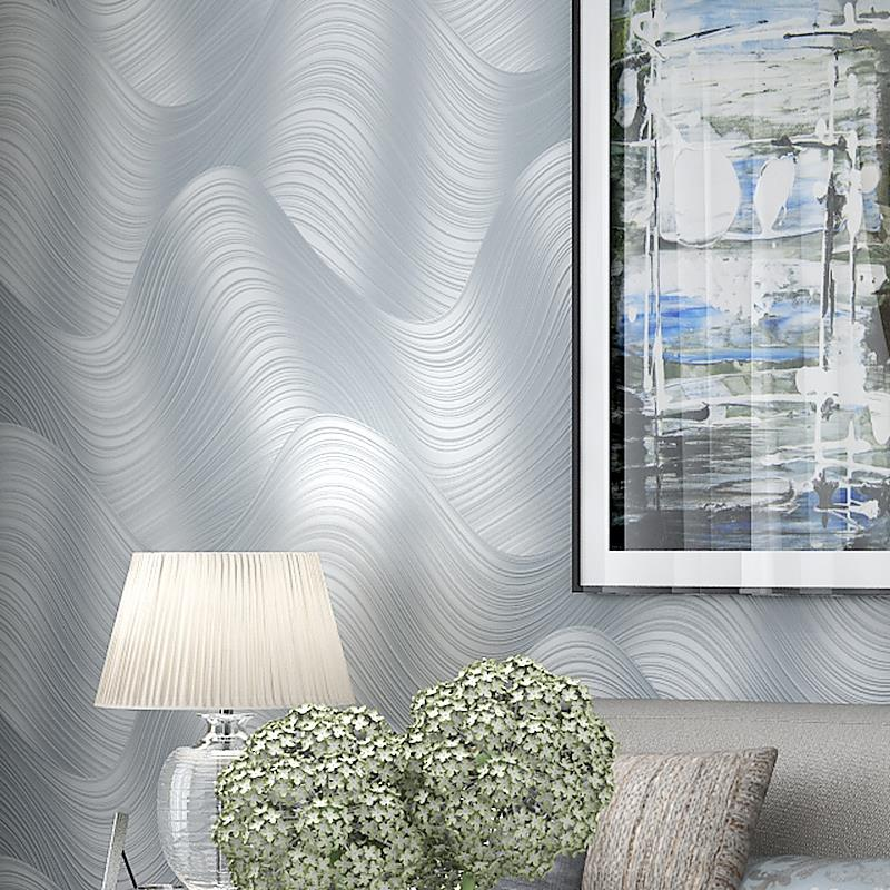 Modern Silver Grey Wallpaper 3D Embossed Wavy Stripe Wall Paper For Bedroom Living Room Creative Art Home Decor Papel De Parede modern silver grey horizontal stripes wallpaper papel de parede moderna designs wall paper striped of living room decor
