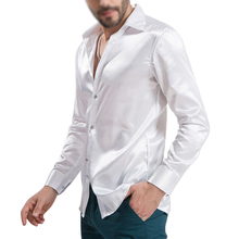 2017 NEW leisure Men's Clothing High-grade Emulation Silk Long Sleeve Shirts Men's Casual Shirt Shiny Satin