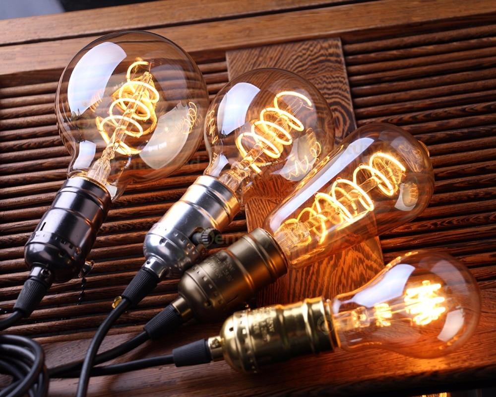 Купить с кэшбэком LED Dimmable Retro Edison Bulb E27 220V 3W Gold Spiral Filament ST64 A19 LED Lamp Vintage Incandescent Decorative LED Lighting