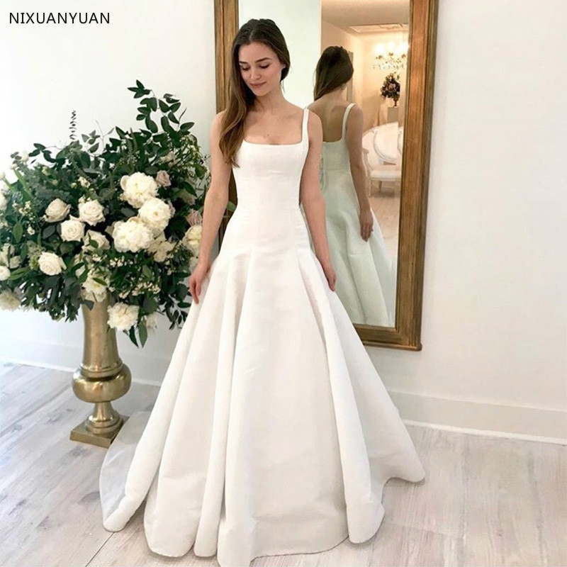 2020 New Arrival Simple A-Line Wedding Dress Square Collar Sexy Bridal Gown Backless with Sweep Train Vestido De Noiva