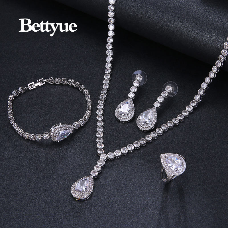 Bettyue Brand Fashion Elegance Europe And America Style Multicolor Zircon White Gold Color Jewelry Sets For Woman Wedding Gifts