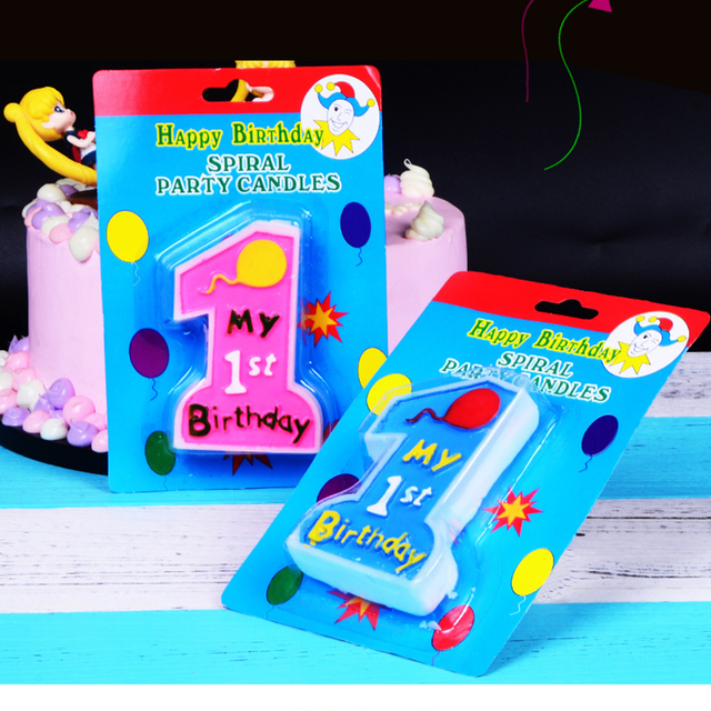 Lucky Pink Giant Large Candle Number 1 Happy Birthday Cake Kids 1st Its A Girl