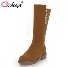 Coolcept Women Flat Heels Boots Plush Fur Winter Women s Shoes Warm Short Boots Fashion Simple