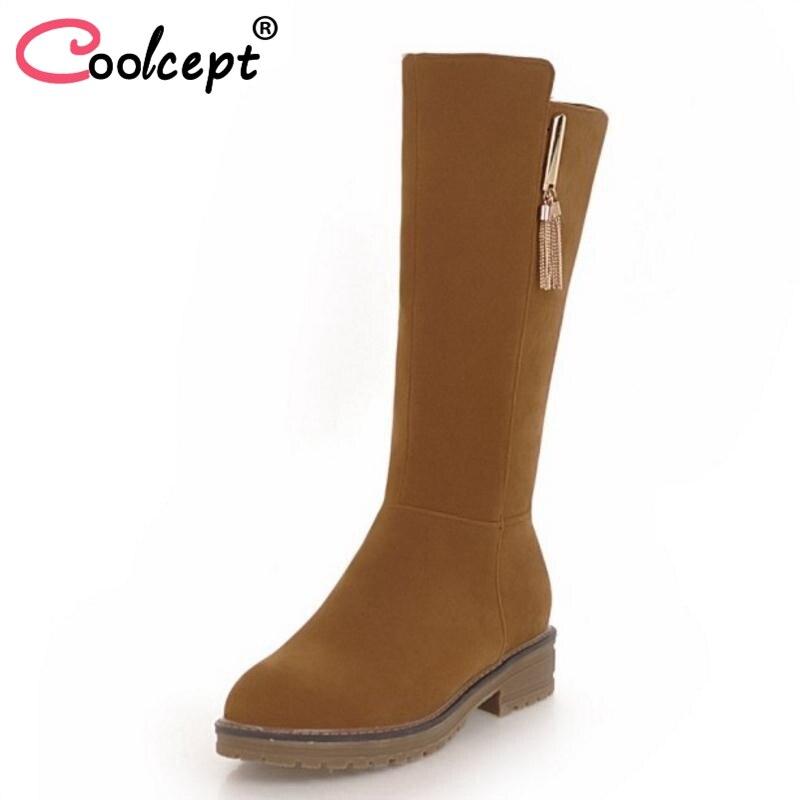Coolcept font b Women b font Flat Heels Boots Plush Fur Winter font b Women s