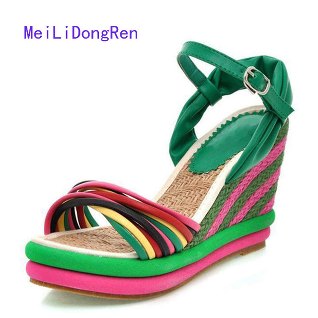 b12455e738dd 2017 Fashion Rainbow High Heels Women Sandals Wedge Shoes Platform Straw  Braid Sandals Ladies Beach Summer Shoes Size 34-41