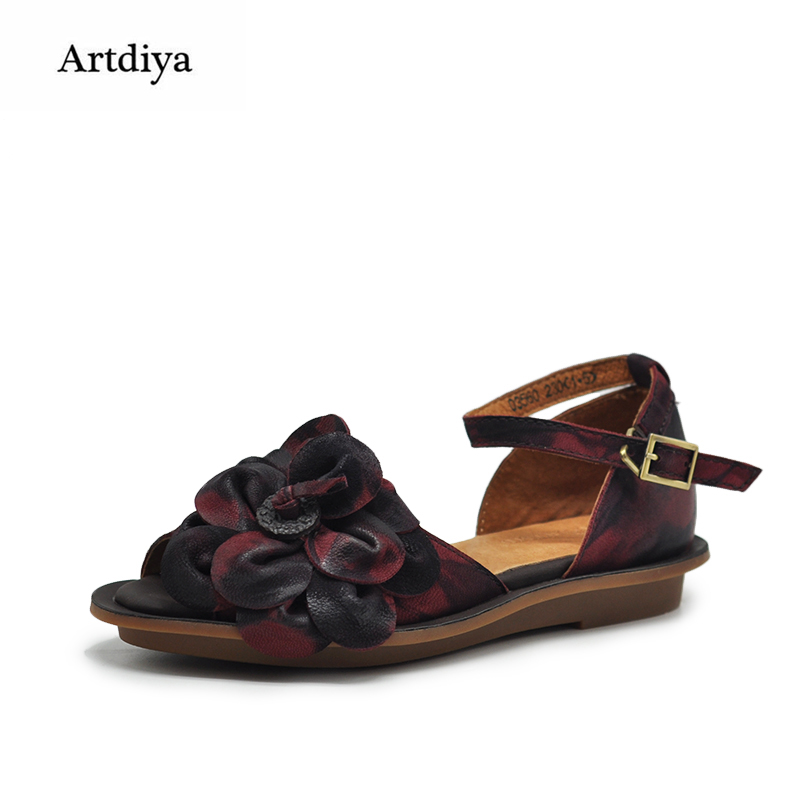 Здесь продается  Artdiya Original Flowers Women Shoes Buckle Flat Soft Retro Sandals Genuine Leather Handmade Sheepskin Shoes 03560  Обувь