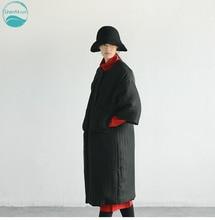 LinenAll.com women's black parkas, 100% silk thick original design winter straight O-neck long parkas coat outerwear female LT