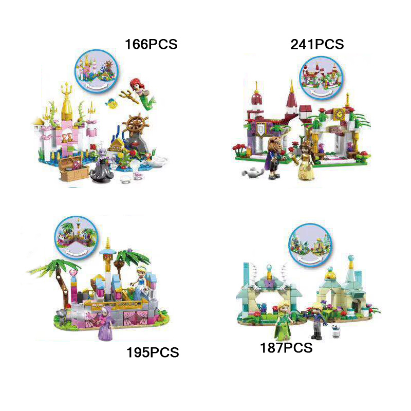 Model Building 6pcs Star Wars Super Heroes Cinderella Ariel Snow White Princess Friends Building Blocks Model Bricks Toys For Children Juguetes