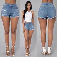 Neue Ankunft Sommer Blue Jeans Shorts Frauen Hohe Taille Licht Gewaschen Elastischen Dünne Zerrissene Denim Casual horts