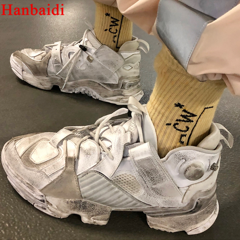 Hanbaidi 2018 New Fashion Old Styles Leather Sneakes Lace Up Ultra Women Ankle Booties Runway Platform Shoes Women Zapatos Mujer