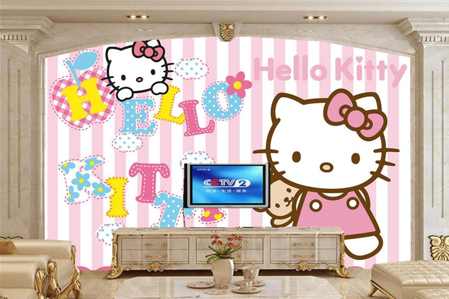 Custom wall papers home decor,Pink cute cartoon cat  lovely wallpaper,living room TV  sofa wall kids room 3d mural wallpaper