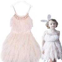 2018 Autumn and Winter Christmas new high end custom baby dress girls princess dress ins explosion models swan feathers dress