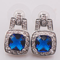 Blue Simulated Sapphire Woman 925 Sterling Silver Crystal Earrings TE468