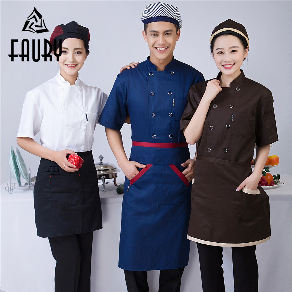 Unisex Stand Collar Double Breasted Restaurant Coffee Shop Bakery Chef Kitchen Canteen Cooking Work Uniforms Jacket Aprons