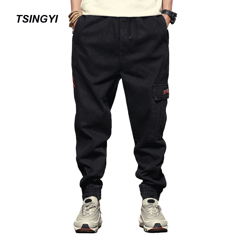 Tsingyi Spring Summer Men Embroidery and Print Black Men Harem Jogger Pants Denim Trousers Men Jean Homme Regular Pant M-XXL