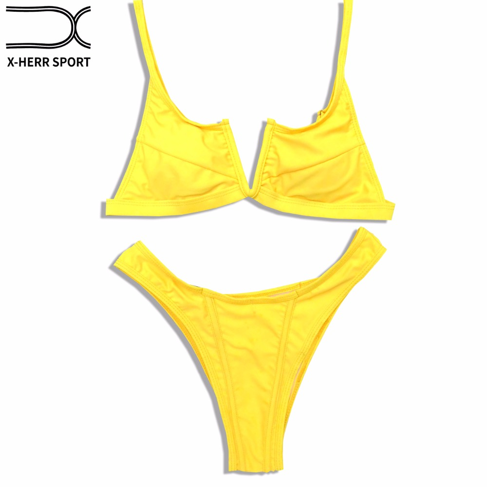 <font><b>2018</b></font> Push Up <font><b>Sexy</b></font> <font><b>Bikini</b></font> <font><b>Swimwear</b></font> <font><b>Women</b></font> Solid <font><b>Bikini</b></font> Set Beachwear Swimming Female Summer Two Piece <font><b>V</b></font> <font><b>Neck</b></font> Swimsuit image