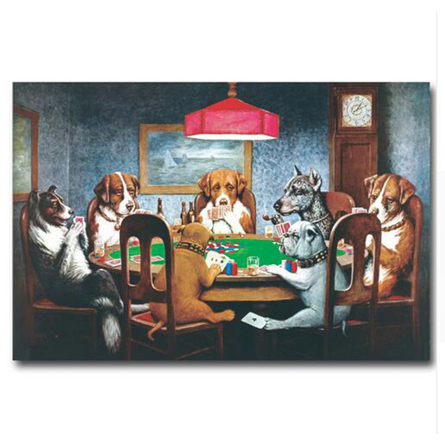 Dogs Playing Poker Cards Art Silk Fabric Poster Print 13x20 20x30inch Funny Pictures Home Wall Decor