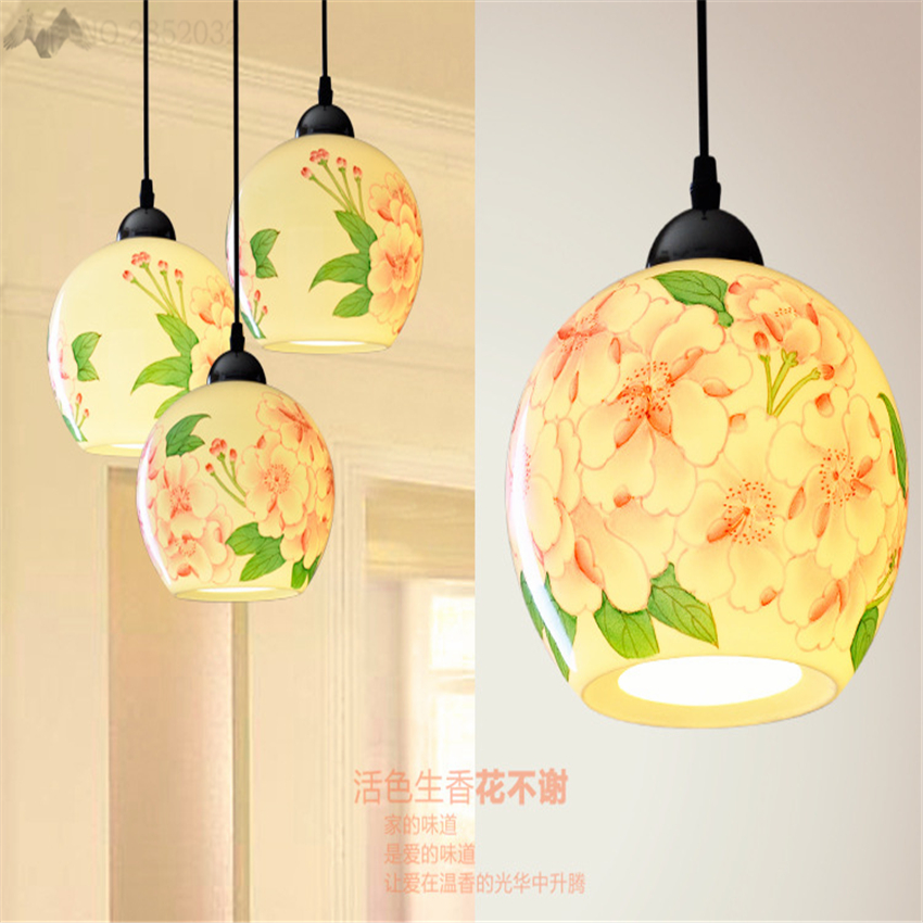 LFH New Chinese Style Handpainted Ceramic Dining Light Fixtures For Bar  Living Room Design Drop Lamp