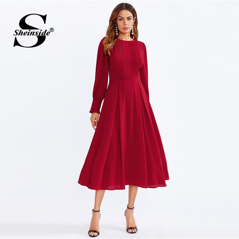 9b669ce8b21 Sheinside Plain A Line Bishop Sleeve Going Out Dress Office Ladies Zipper  Frilled Round Neck Women