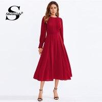 Sheinside Plain A Line Bishop Sleeve Going Out Dress Office Ladies Zipper Frilled Round Neck Women Autumn Elegant Dresses