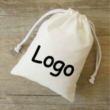 50 個綿ギフトバッグジュエリー包装巾着ポーチメイクパーティーキャンディーギフトラッピングバッグサシェポケットプリントロゴカスタム