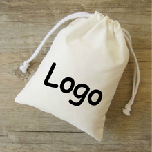 50PCS Cotton Gift Bag Jewelry Packaging Drawstring Pouch Makeup Party Candy Gift Wrapping Bags Sachet Pocket Print Logo Custom