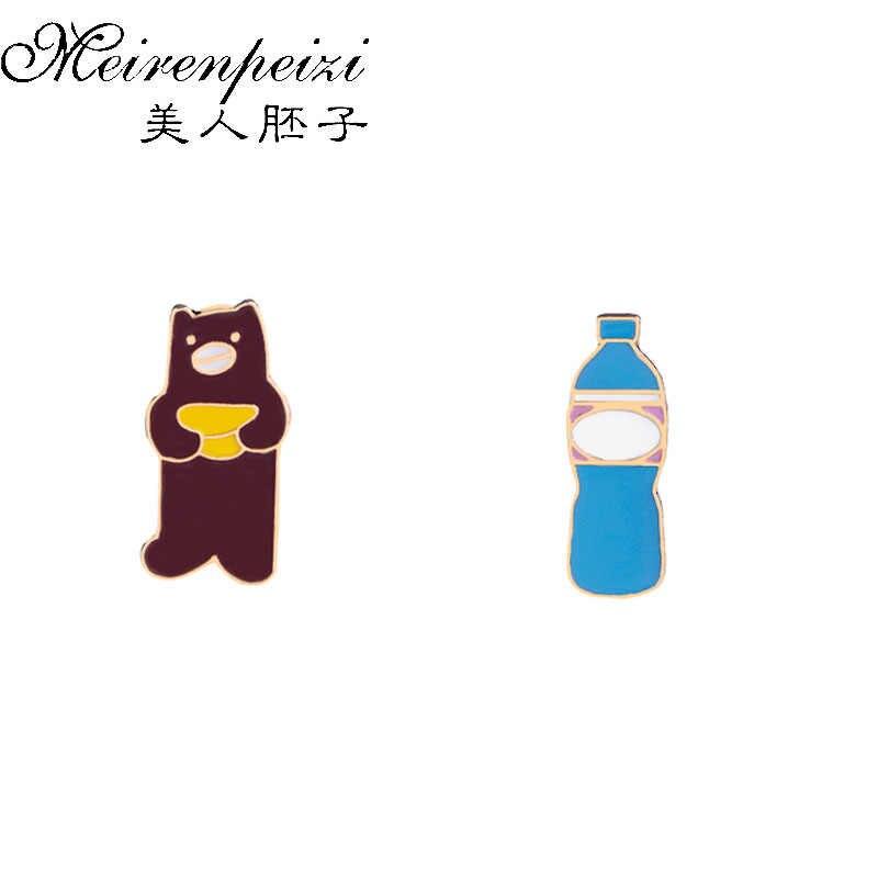 Karikatür hayvan ayı su şişesi emaye pimleri mavi şişe broş yaka Pin sırt çantası rozetleri kız kadın aksesuarları hediye