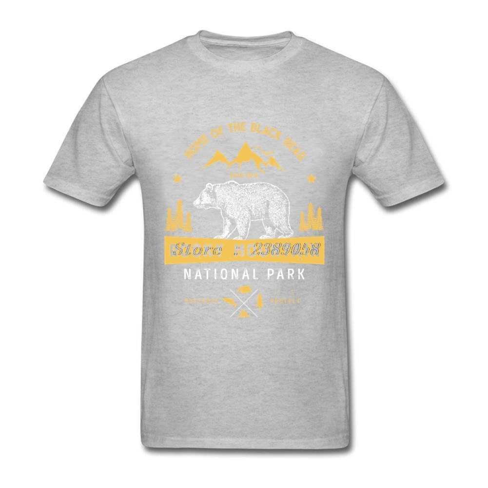 الدب قمصان الرجال قصيرة الأكمام جبال روكي خمر تي شيرت الانترنت قمم الساخن بيع فاخرة الكبار