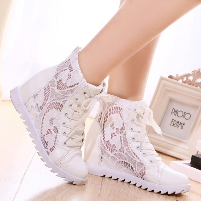 Summer female student's single boots lace ankle flat heels hollow breathable white color sexy women's - Online Shoes Shop store