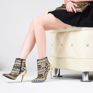 Image 3 - العلامة التجارية الوردي النخيل أحذية النساء أحذية الشتاء الذهب الترتر القماش عالية الكعب حذاء من الجلد للنساء أشار تو أحذية النساء الموضة
