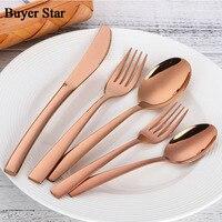 Western Dinnerware Set 5PCS 18 10 Stainless Steel Rose Gold Square Handle Teaspoon Fork Tableware Rose