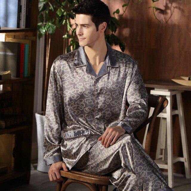 De alta Calidad de Los Hombres de Seda Pijamas ropa de Dormir de Manga Larga Primavera Otoño Pijamas de Satén De Seda Ropa de Dormir Suave Más El Tamaño M-4XL