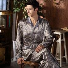 Hochwertige Seide Männer Pyjamas Nachtwäsche Langen Ärmeln Seidenkleid Satin Nachtwäsche Weich Frühling Herbst Pyjamas Plus Größe M-4XL