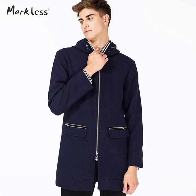 Markless lã comprimento longo blusão homens do revestimento de trincheira do sobretudo dos homens de inverno com capuz casuais longo parkas moda trench coats