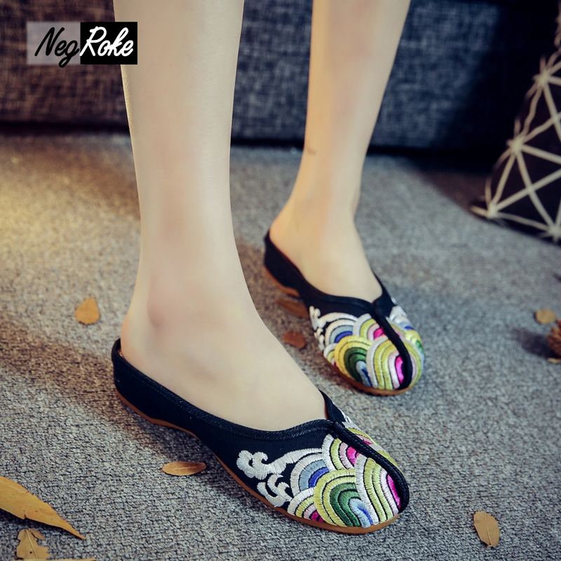 Summer waves embroidery Chinese shoes women slippers casual black sexy mules home flip flops sandals women