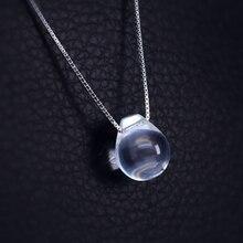 Blanco Crystal Sirena de Tear Drop Collar Llamativo Cadena 925-sterling-silver | Piedra Natural Sterling de Plata de La Joyería para Las Mujeres