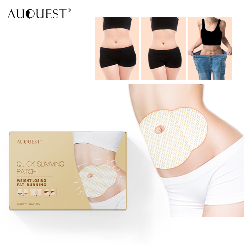 Hot AuQuest Quick Slimming Patch Burn Fat Diet Slimming Pad Pot Belly Fast Acting Flatten Abdome Lazy Weight Loss Slim Patch 5PC