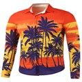 free shipping New Autumn Fashion Brand Men Slim Fit Men Long Sleeve Shirt Men Creative print Casual Men Shirt Plus Size M-2XL
