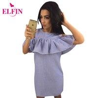 Ruffles Women Dress Summer Striped Dress Cold Shoulder Bodycon Party Short Mini Dress Vestidos LJ9215R