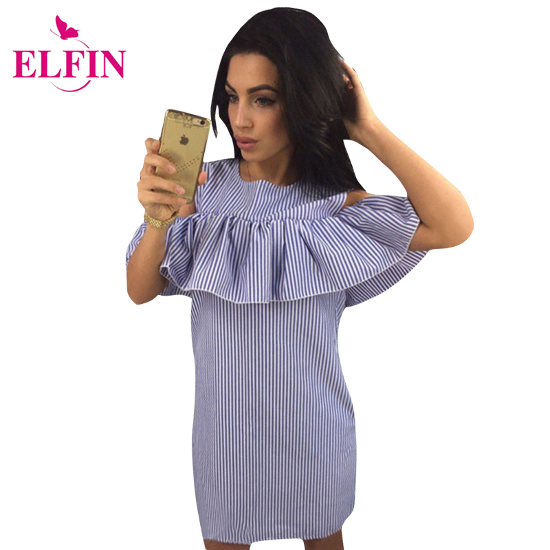 Ruffles Women Dress Summer Striped Dress Cold Shoulder Bodycon Party Short Mini Dress Vestidos LJ9215R