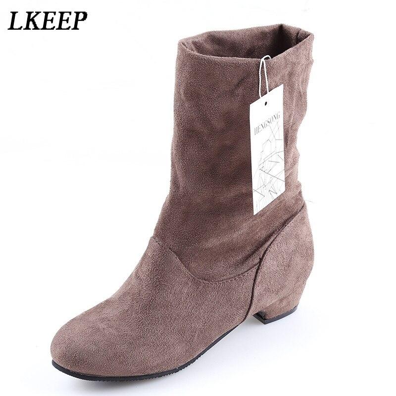 Женские ботинки; сезон осень-зима; Ботинки martin до середины икры; брендовые Модные женские ботинки без застежки из эластичного хлопка; женская обувь на плоской подошве
