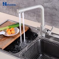 Kitchen Faucet Dual Holder Single Hole Rotatable Deck Mounted Tap Drinking Water Purifier Filter Mixer Chrome