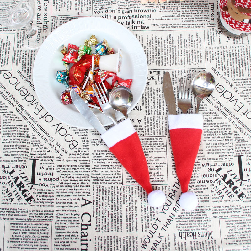 Christmas Decorative tableware Knife Fork Set Christmas Hat Storage Tool Hot New Beautiful Free Shipping Oct12