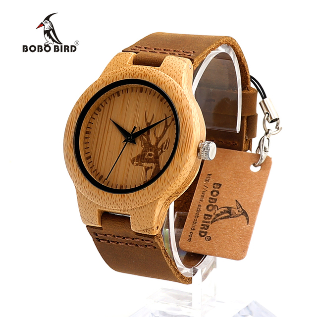 BOBO BIRD Wooden Watch Lovers Engrave Deer Bamboo Dial Quartz Wristwatch with Genuine Leather Band in Gift Box 2