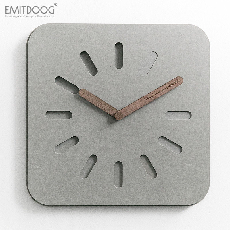 EMITDOOG 12 inches European Style Gray Eco friendly Wooden Watch Modern Design Home Decorative Square Concrete Wall Clock