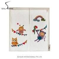 Sew CraneHoneycomb Fabric Embroidery Design With Cartoon Monky Birds Home Restaurant Door Curtain Noren Doorway Room