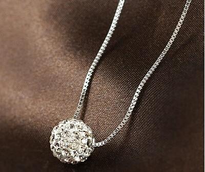 Mode Shambhala bal kristal 925 sterling zilveren dames`short box ketting kettingen sieraden cadeau drop shipping vrouwelijke kerst